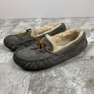 UGG Grey Suede Moccasins Slippers Shoes Size 7